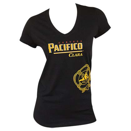 Pacifico Women's Black V-Neck T-Shirt