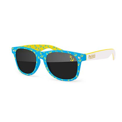 Pacifico Teal And Yellow Wayfarer Sunglasses
