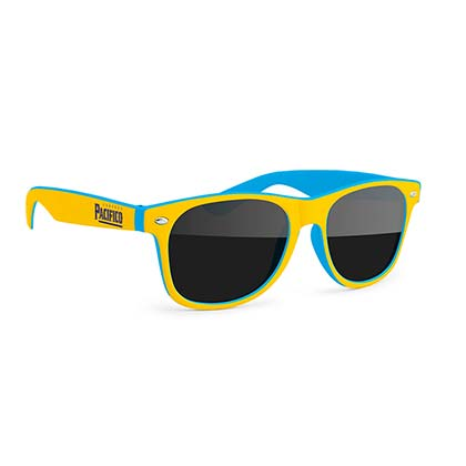 Pacifico Teal And Yellow Two-Tone Wayfarer Sunglasses