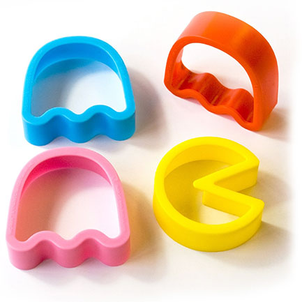 Pac Man Colored Plastic Cookie Cutters Set of 4