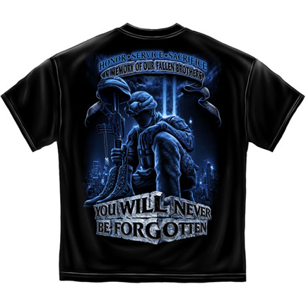 In Memory Of Fallen Brothers Patriotic Black Graphic TShirt