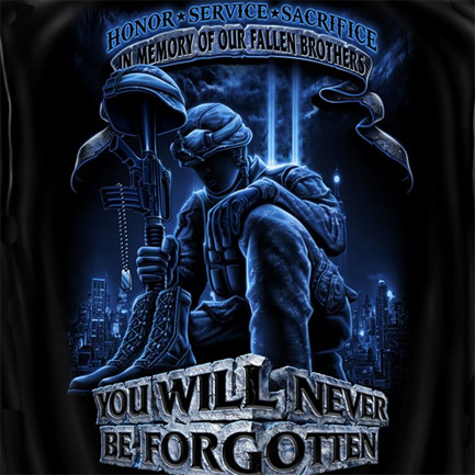 In Memory Of Fallen Brothers Patriotic Black Graphic T-Shirt