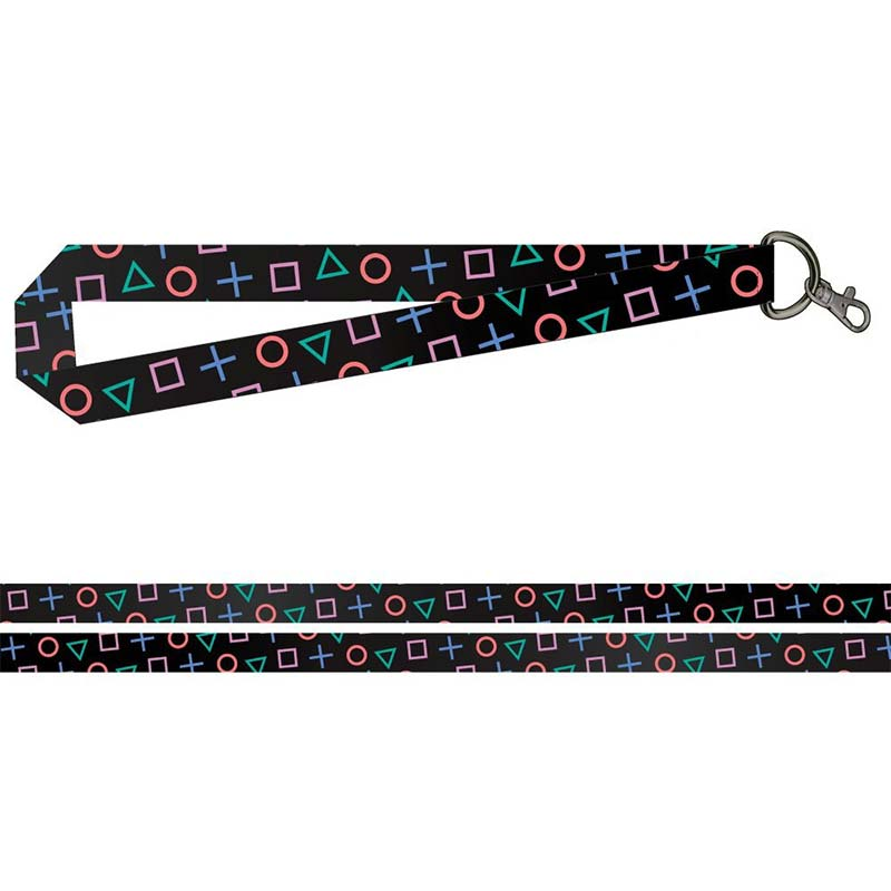 Playstation Buttons Black Wide Lanyard