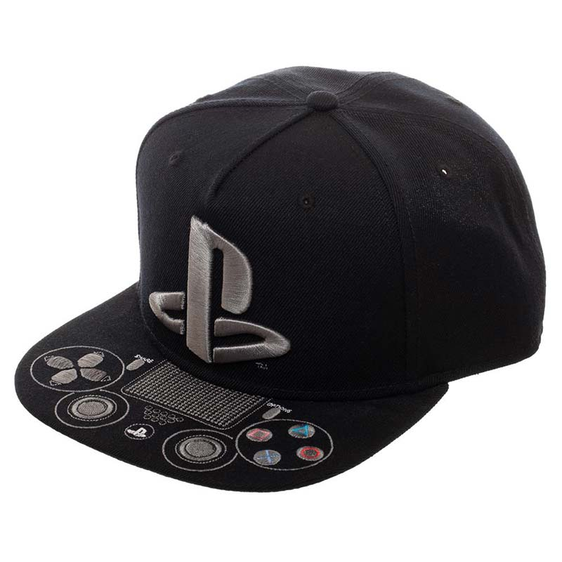 Playstation Logo Controller Black Embroidered Men's Hat