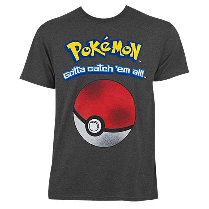Pokemon Men's Grey Catch Em T-Shirt