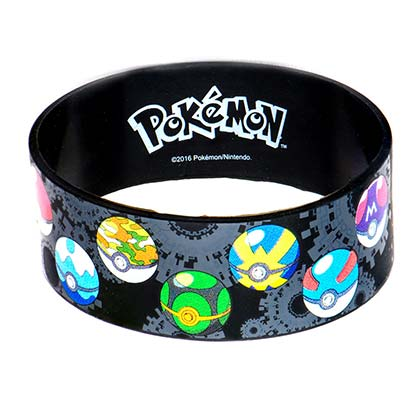 Pokemon Multi-Colored Pokeballs Rubber Bracelet