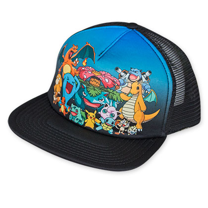 Pokemon Blue And Black Sublimated Characters Trucker Hat