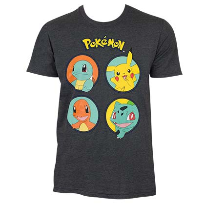 Pokemon Men's Gray Circle Logo T-Shirt