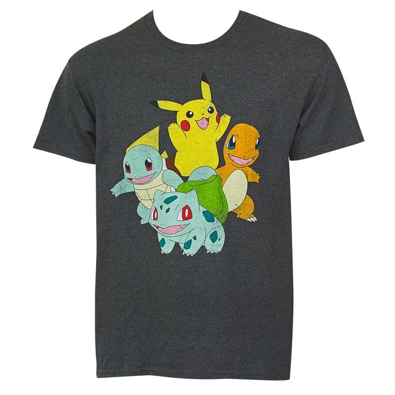 35622121 Pokemon Pikachu And Friends Men's Grey T-Shirt | SuperheroDen.com