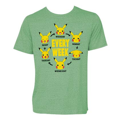 Pokemon Men's Green Every Week Pikachu T-Shirt