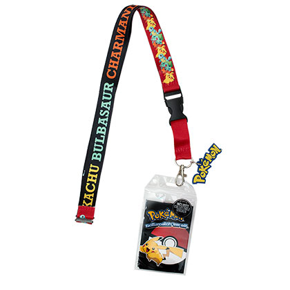 Pokemon Black And Red Card Holder Lanyard