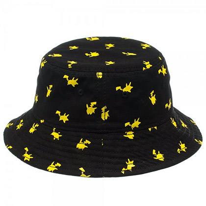 Pokemon Pikachu Print Black Bucket Hat