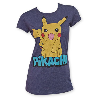 Pokemon Navy Blue Women's Pikachu Wave Tee Shirt
