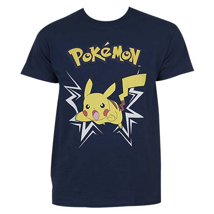 Pokemon Men's Navy Blue Pikachu Charge Up T-Shirt