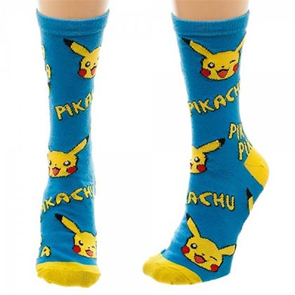 Pokemon Blue Pikachu Juniors Crew Socks