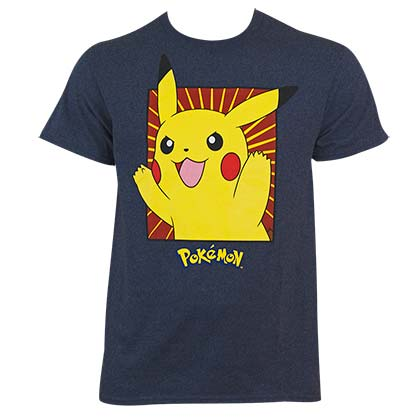 Pokemon Men's Navy Blue Boxed Pikachu T-Shirt