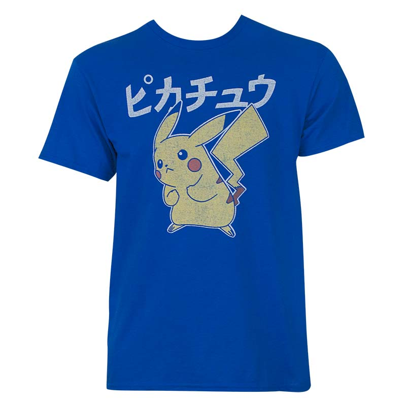 7966cf7e2 Pokemon Men's Blue Japanese Pikachu T-Shirt | SuperheroDen.com