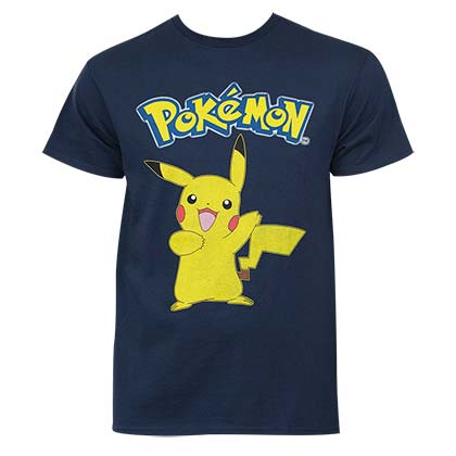 Pokemon Pikachu Men's Navy Blue Logo T-Shirt