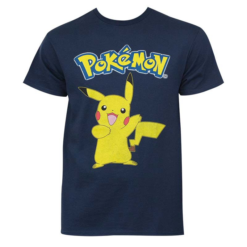 b85fe6b17 Pokemon Pikachu Men's Navy Blue Logo T-Shirt | SuperheroDen.com