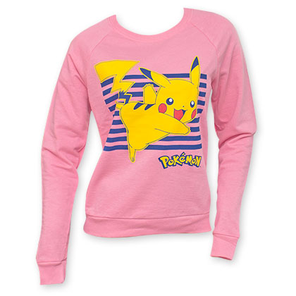 Pokemon Pink Women's Pikachu Crew Neck Sweatshirt
