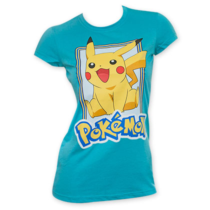 Pokemon Blue Women's Pikachu Jump Tee Shirt