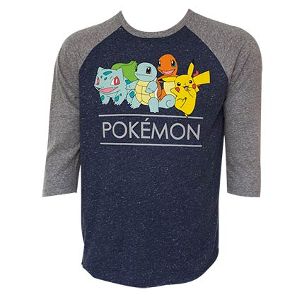 Pokemon Men's Baseball Sleeve T-Shirt