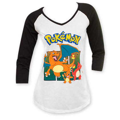 Pokemon Women's 3/4 Sleeve Charmander Tee Shirt