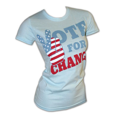 Vote For Change Blue Ladies' Babyoll Graphic Tee Shirt