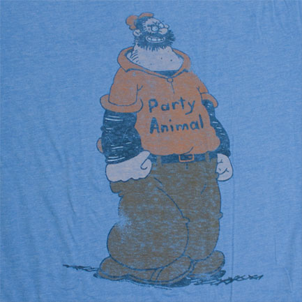 Popeye Brutus Party Animal Vintage Junk Food Blue Graphic T Shirt