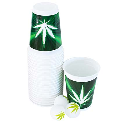 Beer Pong Stoner Pot Leaf Cup And Balls Set