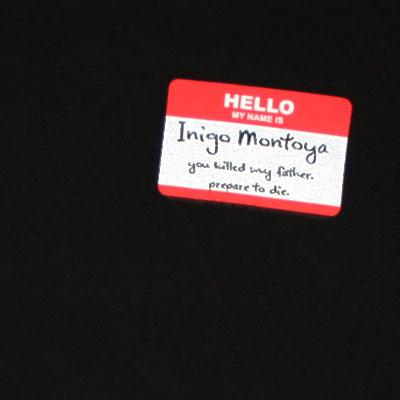 Princess Bride Inigo Montoya Tag Black Graphic T Shirt