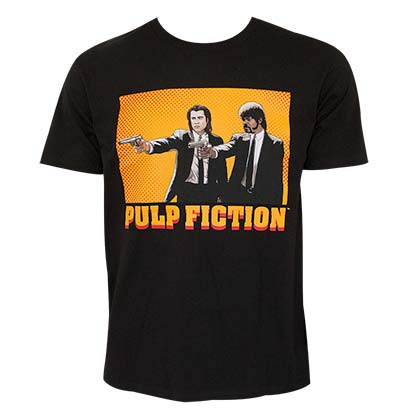 Pulp Fiction Guns Illustrated Mens Black Tee Shirt