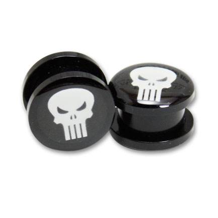 "Punisher Logo Plugs Size 1/2"" Pair"