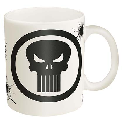 Punisher Logo Bullet Holes White 11oz Coffee Mug