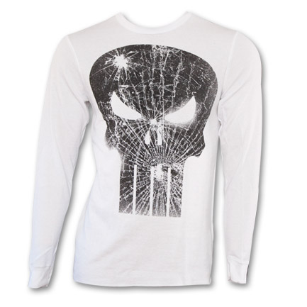 Punisher Cracked Skull Logo Thermal - White