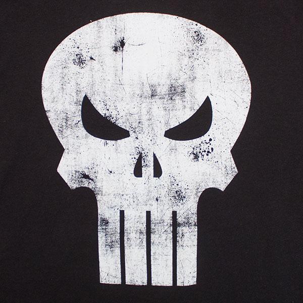 6ac18dbe7 Black Distressed Punisher Skull Logo T-Shirt | SuperheroDen.com