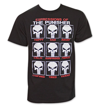 Punisher Skull Expressions T Shirt - Black