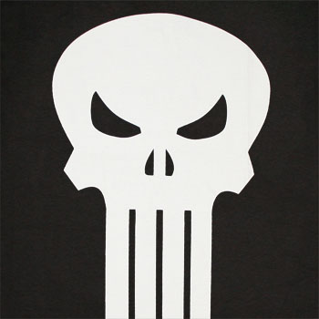 Punisher White Skull Black Graphic TShirt