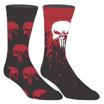 Punisher Marvel 2 Pack Red Black Men's Crew Socks
