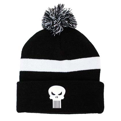 Punisher Black Pom Winter Beanie