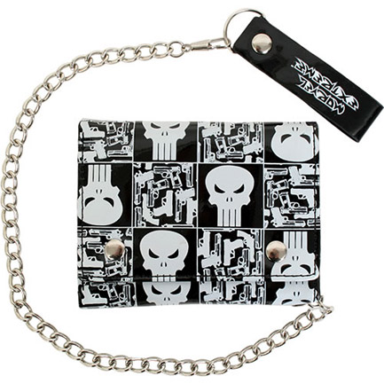 Punisher Marvel Comics Skulls Black Vinyl Chain Wallet