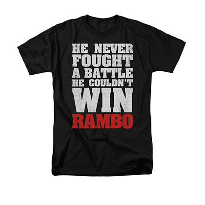 Rambo He Never Fought A Battle Black T-Shirt