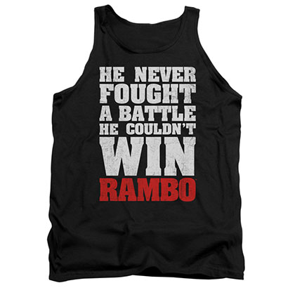 Rambo Never Fought A Battle Black Tank Top