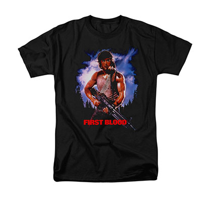 Rambo First Blood Poster Black T-Shirt