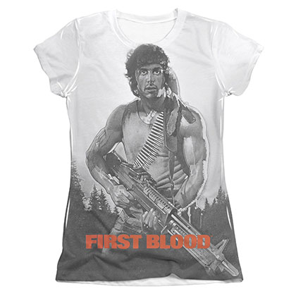Rambo First Blood Poster Sublimation Juniors T-Shirt