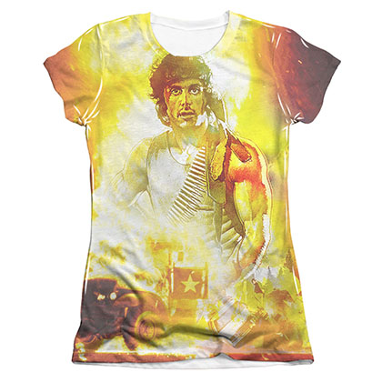Rambo First Blood Fire Sublimation Juniors T-Shirt