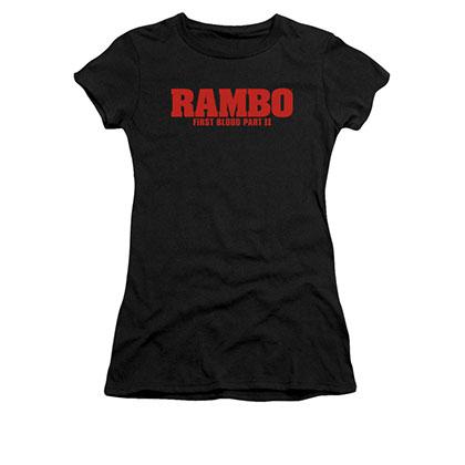 Rambo First Blood II Logo Black Juniors T-Shirt