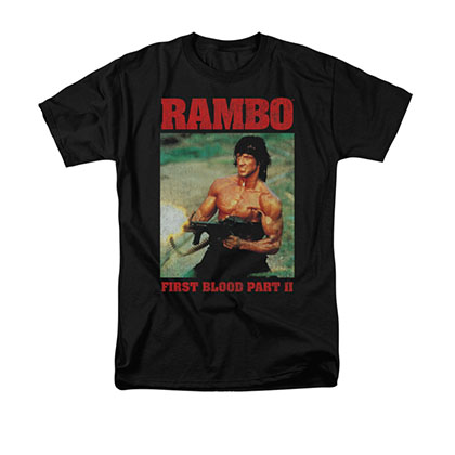 Rambo Dropping Shells Black T-Shirt