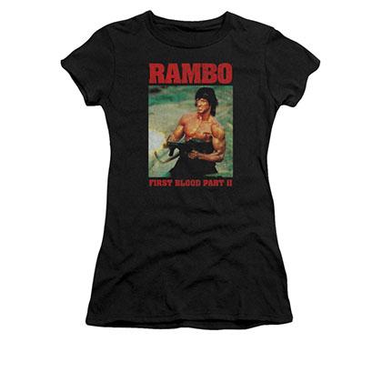 Rambo Dropping Shells Black Juniors T-Shirt