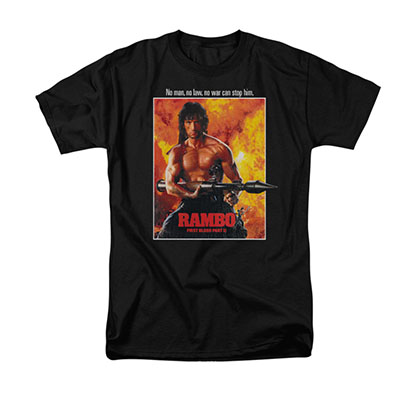 Rambo First Blood II Poster Black T-Shirt